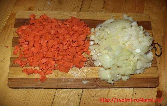Нарезаем овощи на небольшие кубики 2