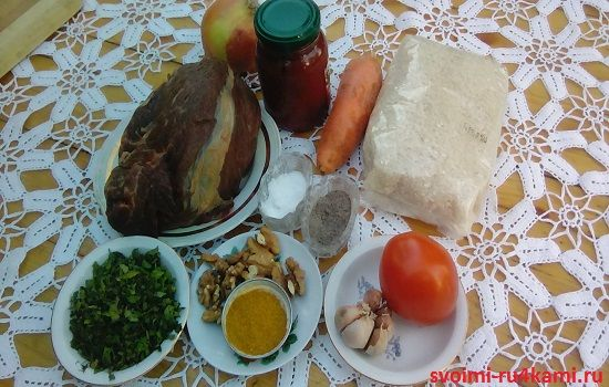 Ингредиенты супа харчо